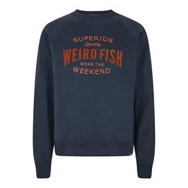Weirdfish Mens Kane Graphic Print Crew Neck Loopback Sweat Navy