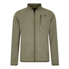 Weirdfish Mens Rossten Full Zip Grid Fleece Dark Olive