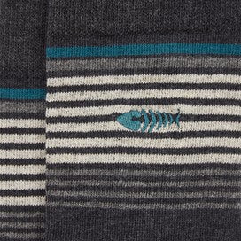 Weirdfish Mens Salvio Striped Sock Multi 3 Pack Washed Black Marl