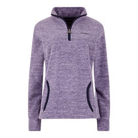 Weirdfish Ladies Nancy 1/4 Zip Melange Fleece Sweatshirt Purple Magic