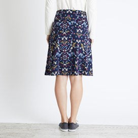 Weirdfish Ladies Malmo Printed Jersey Skirt Navy