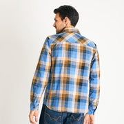 Weirdfish Mens Renato Madras Check Shirt Riviera Blue