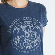 Weirdfish Ladies Shreya Happy Camper Graphic Tee T Shirt Dark Navy Marl