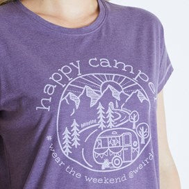 Weirdfish Ladies Shreya Happy Camper Graphic Tee T Shirt Dewberry Marl