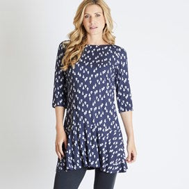 Weirdfish Ladies Blaire Printed Viscose Tunic Dark Navy