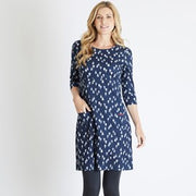 Weirdfish Ladies Starshine Printed Jersey Dress  Dark Navy