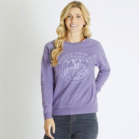 Weirdfish Ladies Glaze Happy Camper Graphic Crew Sweater Dewberry