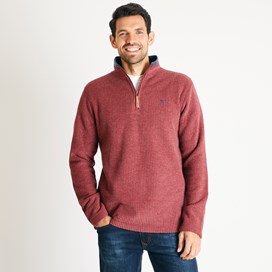 Weirdfish Mens Newark 1/4 Zip Grid Fleece Sweatshirt Henna