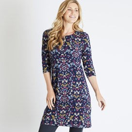 Weirdfish Ladies Starshine Printed Jersey Dress Navy