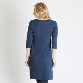 Weirdfish Ladies Starburst Marled Single Jersey Dress Dark Navy Marl