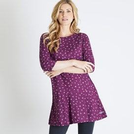 Weirdfish Ladies Blaire Printed Viscose Tunic Dark Purple Potion