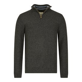 Weirdfish Mens Calbo 1/4 Zip Marled Textured Jumper Washed Black Marl