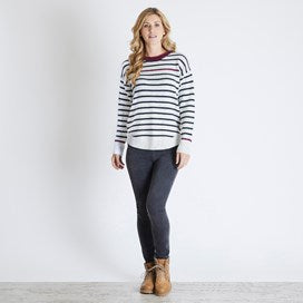 Weirdfish Ladies Alexa Nepp Stripe Jumper Light Cream