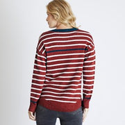 Weirdfish Ladies Alexa Nepp Stripe Jumper Chilli Red