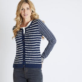 Weirdfish Ladies Brielle Cable Outfitter Cardigan Navy Cream Stripe