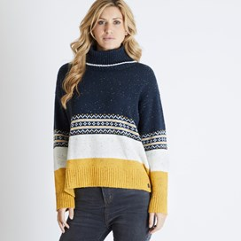 Weirdfish Ladies Elsa Colour Block Popover Knitted Jumper Dark Navy & Mustard