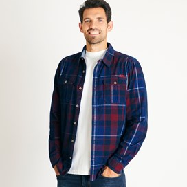 Weirdfish Mens Avary Washed Cord Check Shirt Navy