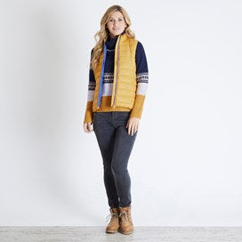 Weirdfish Ladies Sammy Wadded Gilet Amber Glow Yellow