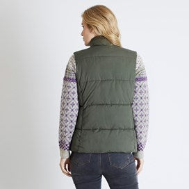 Weirdfish Ladies Lauren Print Lined Wadded Gilet Olive