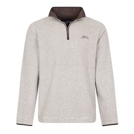 Weirdfish Mens Errill 1/4 Zip Textured Fleece Sweatshirt Ecru cream