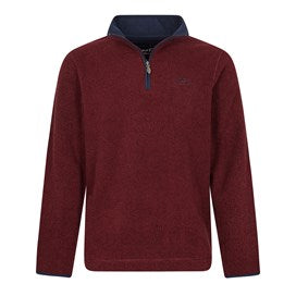 Weirdfish Mens Errill 1/4 Zip Textured Fleece Sweatshirt Oxblood