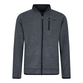 Weirdfish Mens Rossten Full Zip Grid Fleece Navy
