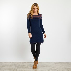 Weirdfish Ladies Sebah Fair Isle Knitted Dress Dark Navy
