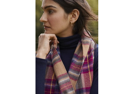 Joules Ladies Bracken Longline Check Scarf Tan Ombre