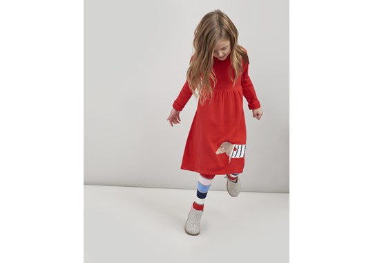 Joules Girls Millicent Red Knitted Dress Sausage Dog