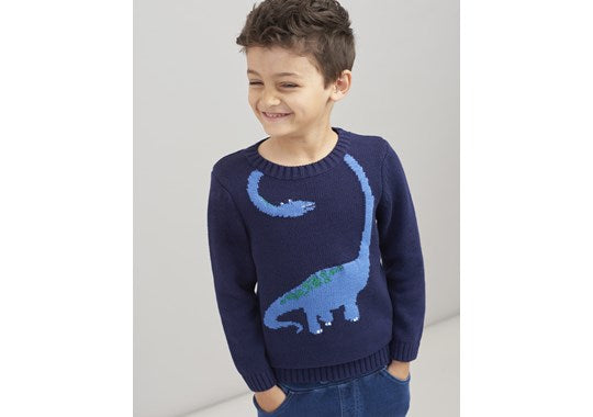 Joules Boys Wrap Around Intarsia Jumper Navy Dino