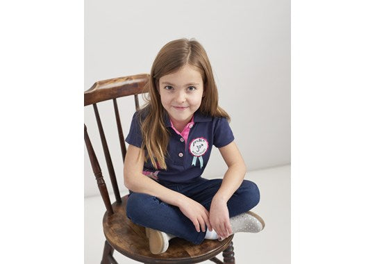 Joules Girls Moxie Polo Shirt Navy Horse