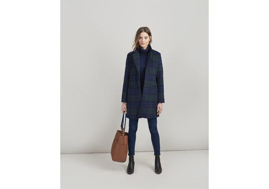 Joules Ladies Costello Check Wool Blend Easy Coat Navy Check