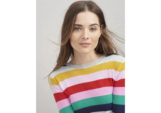 Joules Ladies Asha Crew Neck Jumper Rainbow Stripe