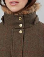Joules Ladies Carolyn Swing Opera Coat Green Tweed Jacket