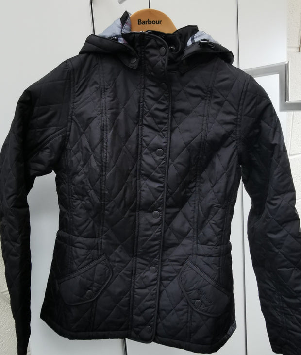 Barbour Ladies Millfire Quilt Black Jacket with detachable hood