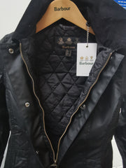 Barbour Ladies Belsay Sylkoil Wax Cotton Jacket Black