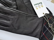Barbour Ladies Lady Jane Glove Choc With Green Tartan