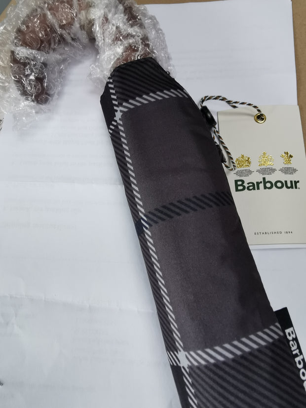 Barbour Mens Ladies Unisex Tartan Mini Umbrella  Black/Grey