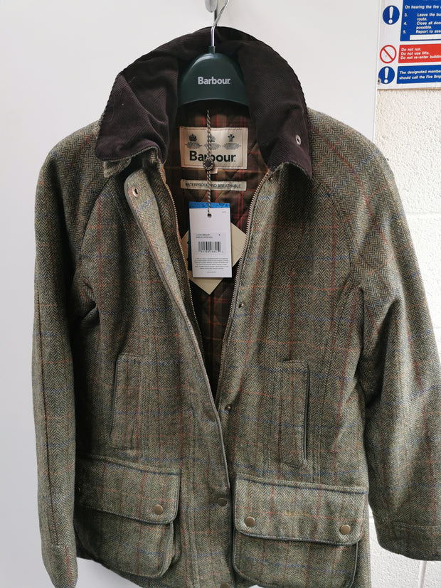 Barbour Ladies  Carter Wool Olive / Aubergine Coat