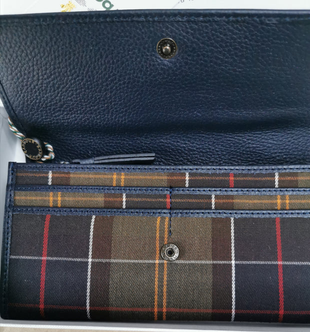 Barbour Ladies Covertible Wallet Purse Navy Classic Tartan