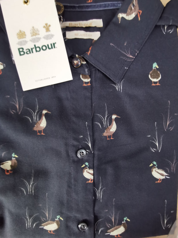 Barbour Ladies Brecon Shirt Duck & Bullrush Navy Print