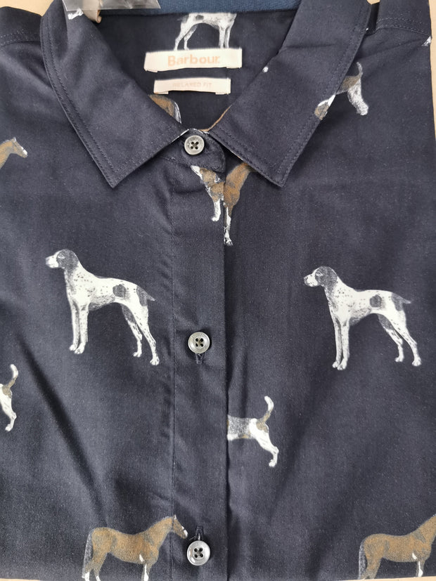 Barbour Ladies Stirling Shirt Navy Dog Print