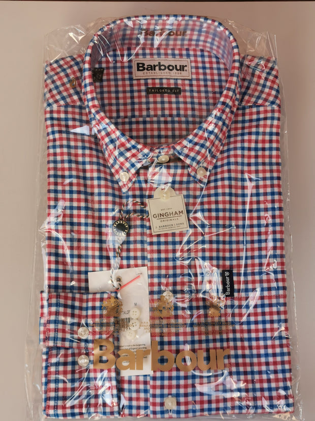 Barbour Mens Gingham 11 Tailored Fit Shirt Red