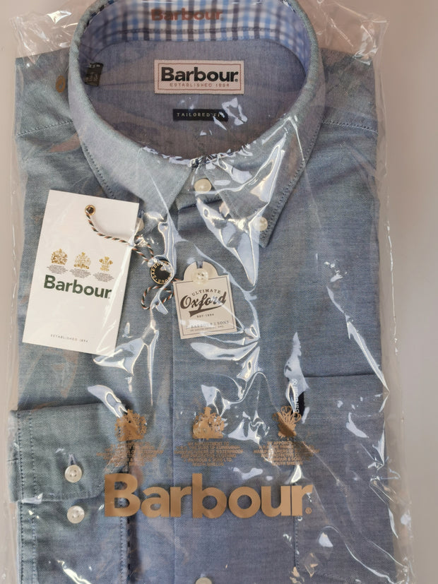 Barbour Mens Oxford 7 Tailored Fit Shirt Mid Blue