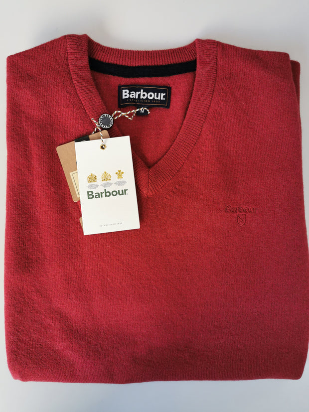 Barbour Mens Essential Lambswool V Neck Sweater Biking Red