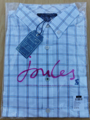 Joules Mens Welford Long Sleeve Classic Fit Check Shirt White Multi
