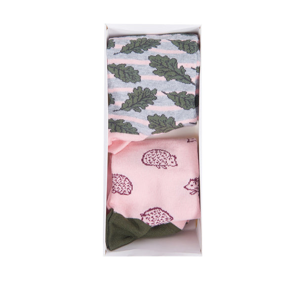 Barbour Ladies Hedgehog Leaf Socks Gift Box Olive/Pink