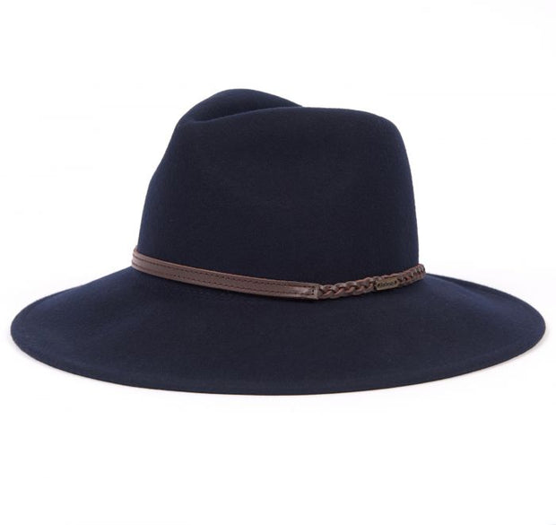 Barbour Ladies Tack Fedora Navy Felt Pure Wool Hat
