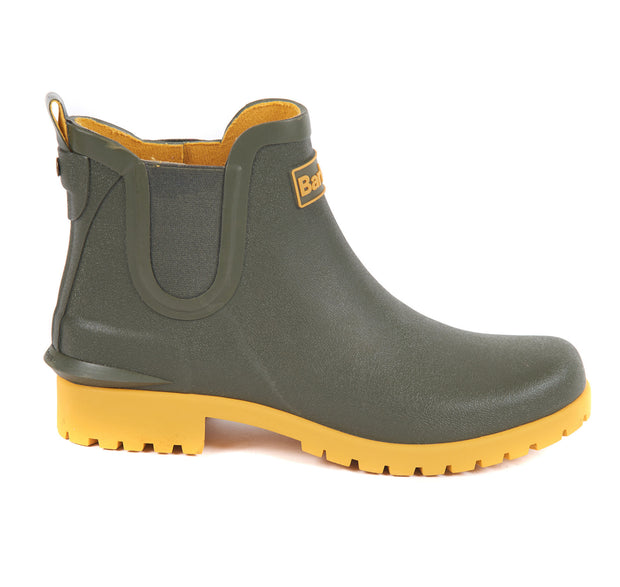 Barbour Ladies Wilton Chelsea Style Short Wellington Boot Olive / Yellow