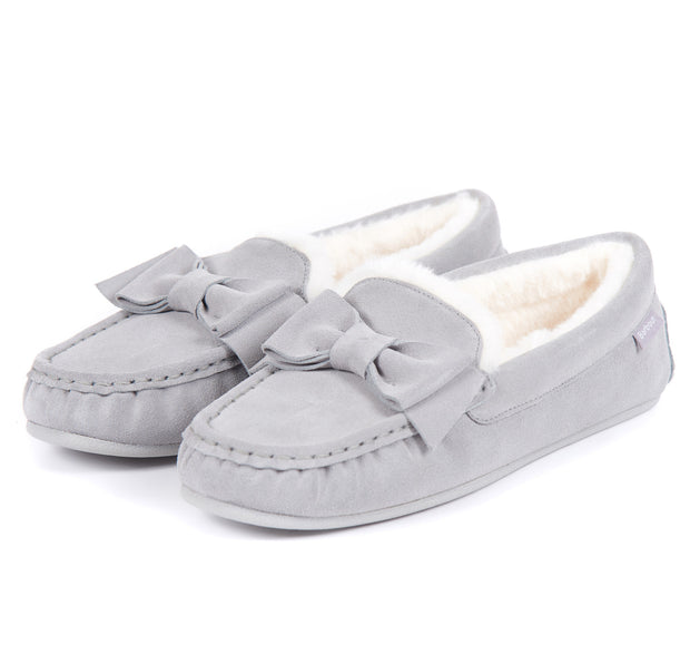 Barbour Ladies Sadie Mocassin Slippers Grey Suede Faux Fur Lining
